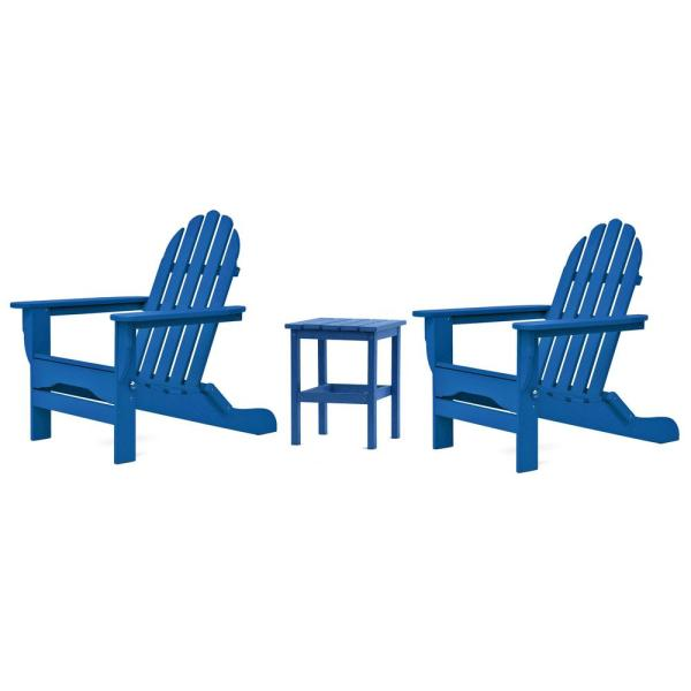 Icon Royal Blue 3-Piece Plastic Folding Adirondack Chat Set