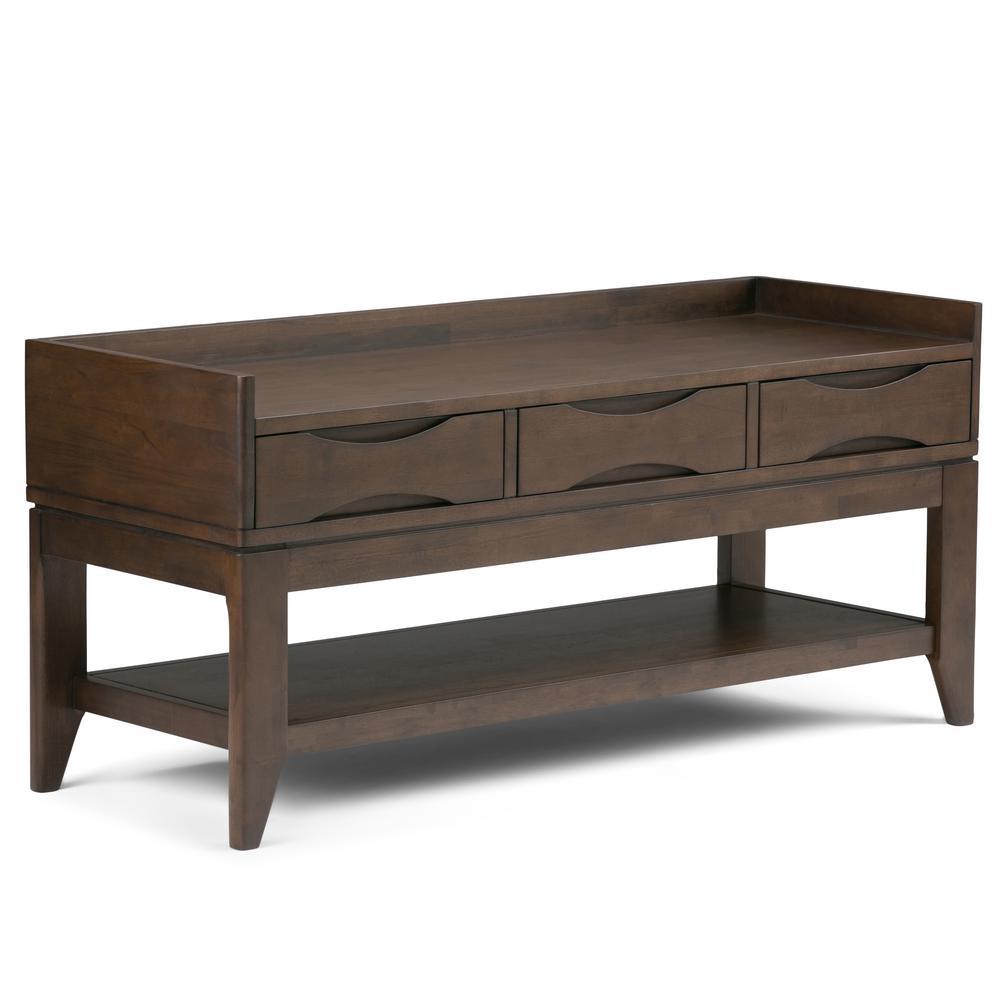 Harper Solid Hardwood 48 in. Wide Mid Century Modern Entryway Bench in Walnut Brown
