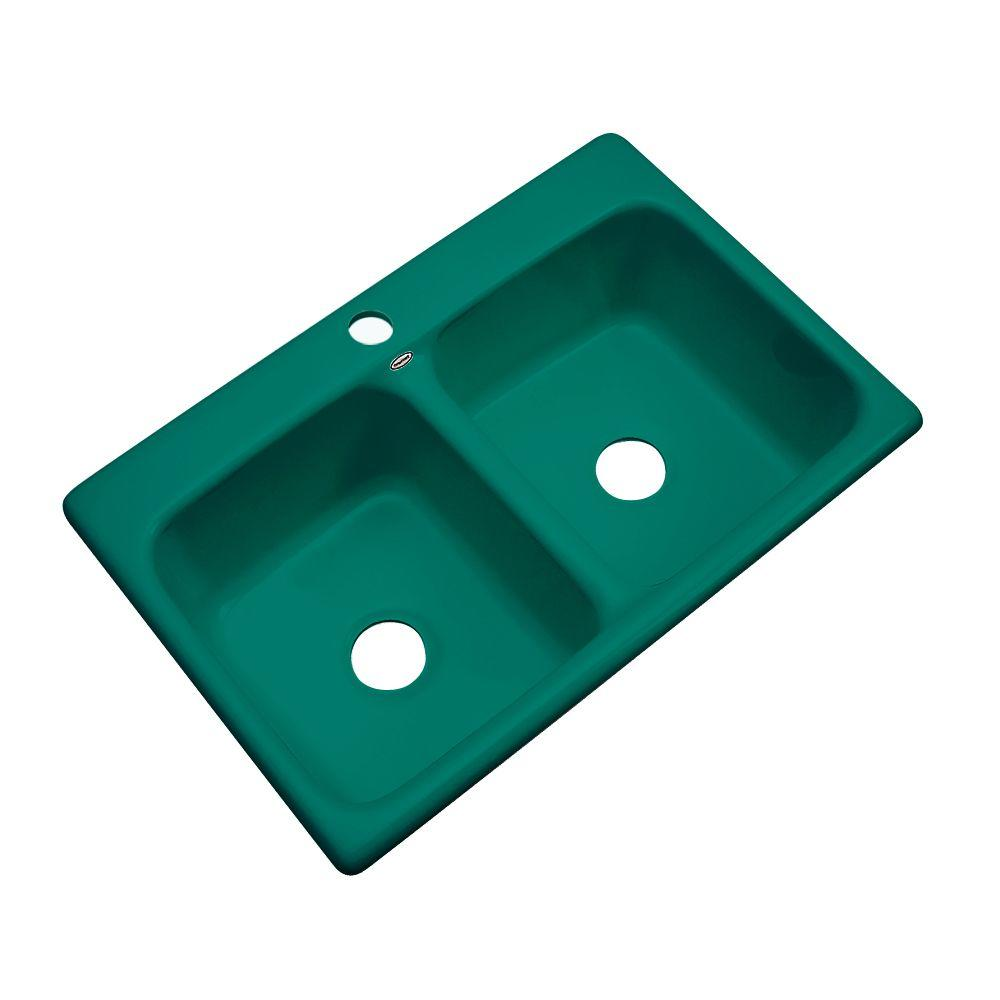 Thermocast Newport Drop-In Acrylic 33 in. 1-Hole Double Bowl Kitchen Sink in Verde