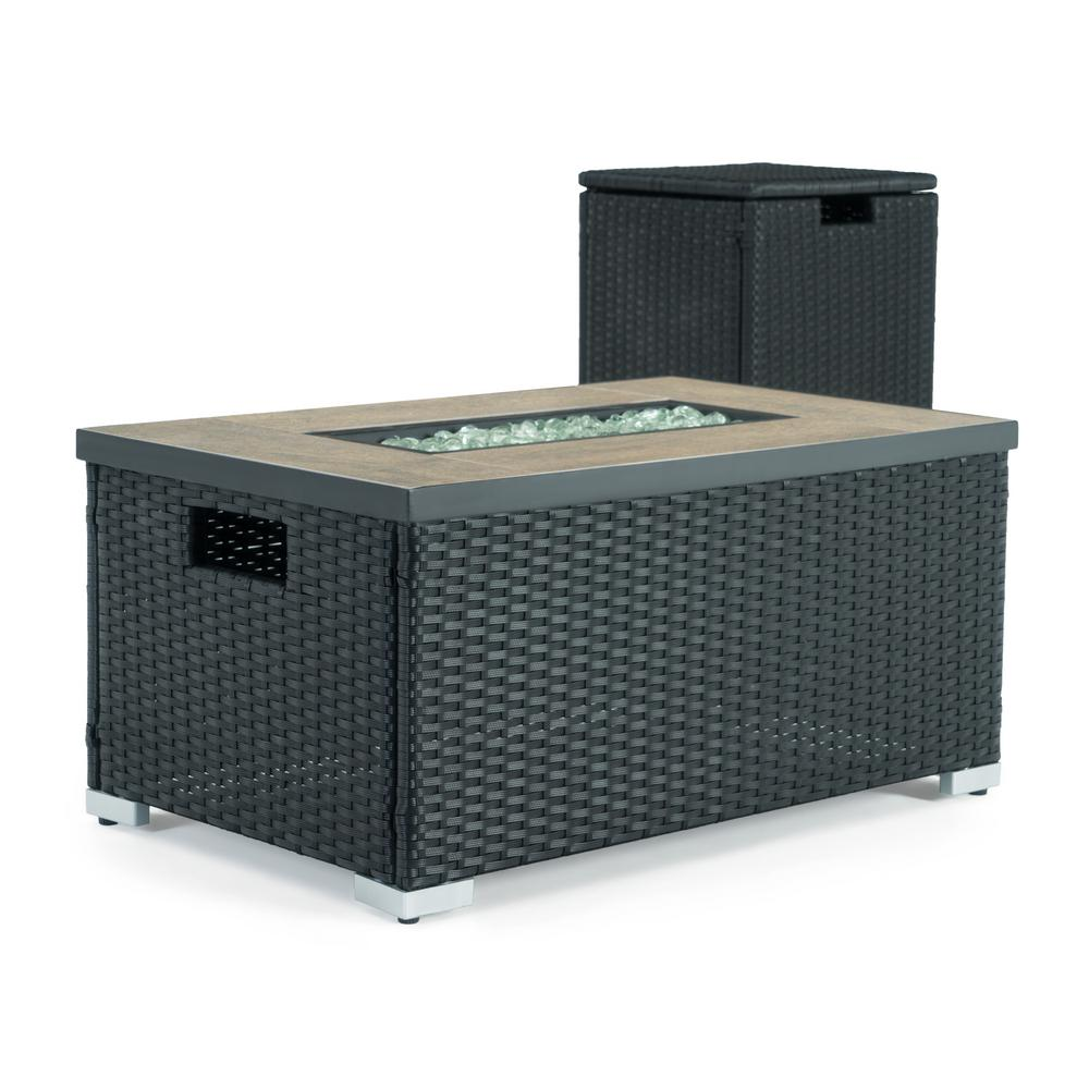 Sego Lily Cheyenne 32 in. x 16 in. Rectangular Wicker Propane Fire Pit Table in Black with Propane Storage and Protective Cover