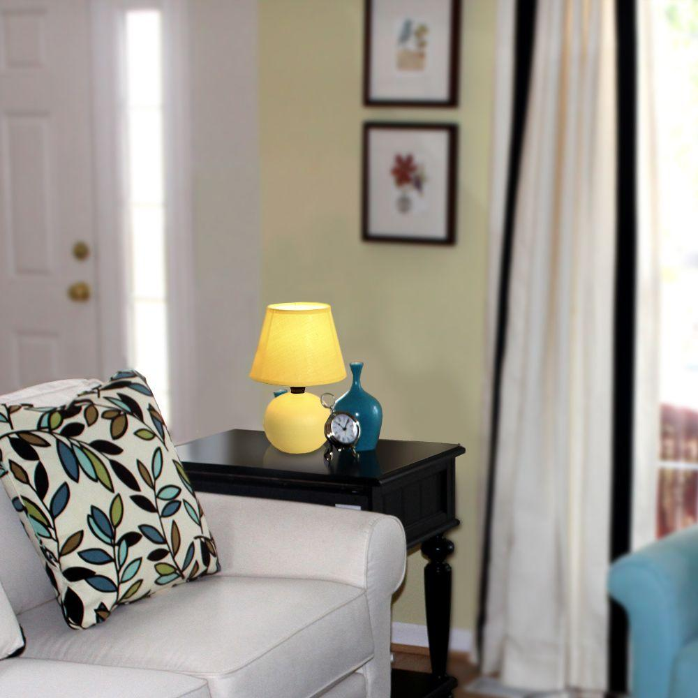Simple Designs 8.78 in. Yellow Ceramic Globe Mini Table Lamp