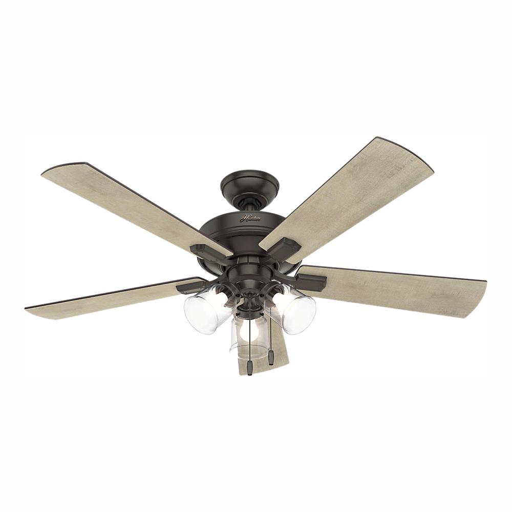 Hunter Crestfield 52 in. LED Indoor Noble Bronze Ceiling Fan with 3-Light Kit