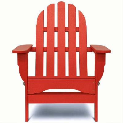 Icon Bright Red Plastic Folding Adirondack Chair