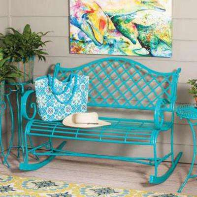 45 in. Powder Coat Indoor/Outdoor Turquoise Metal Outdoor Rocker