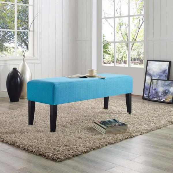 MODWAY Connect Upholstered Fabric Bench in Pure Water EEI-2556-PUR