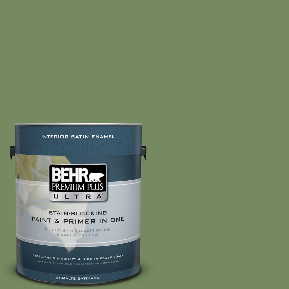 BEHR Premium Plus Ultra 1-gal. #M380-6 Fern Canopy Satin Enamel Interior Paint
