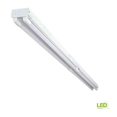 8 ft. 4-Light White Industrial LED White Strip Light with T8 LED 5000K Tubes