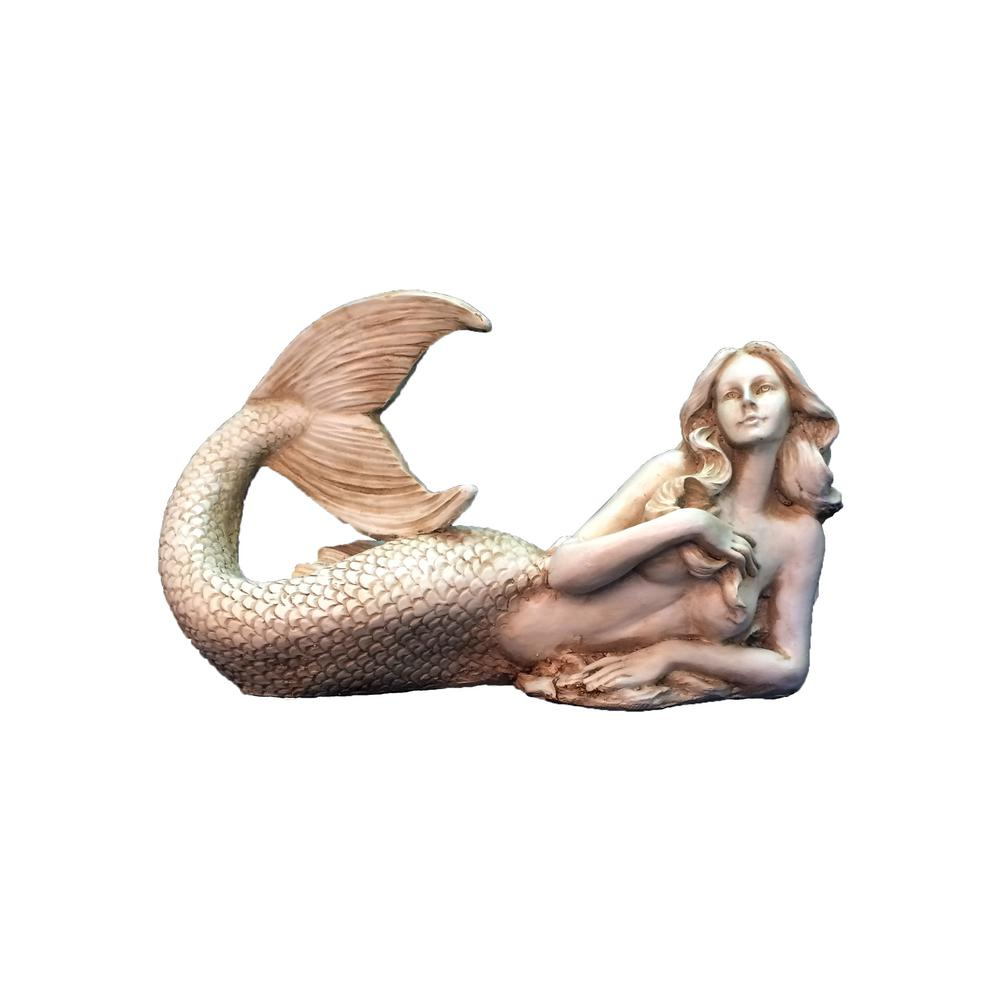 HOMESTYLES 12 in. Antique White Sexy Mermaid Nautical Beach Statue