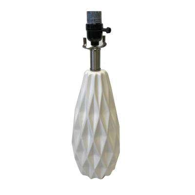 Mix & Match 18 in. White Ceramic Faceted Table Lamp Base