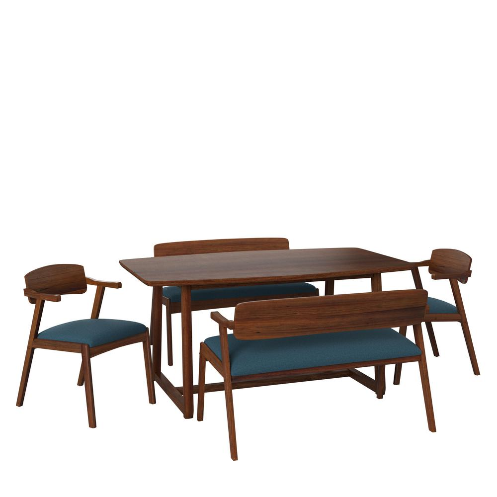 Handy Living Richman 5 Piece Mid Century Modern Wood Dining Set With 2 Arm Benches And 2 Arm Chairs In Cherry And Blue Fabric A160919 The Home Depot