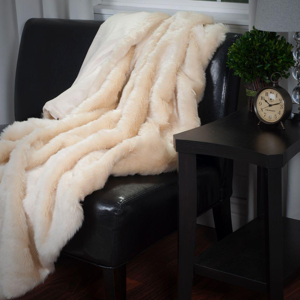 Lavish Home Beige Luxury Long Haired Faux Fur Throw