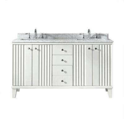 Beau D Vanity In White With Marble Vanity