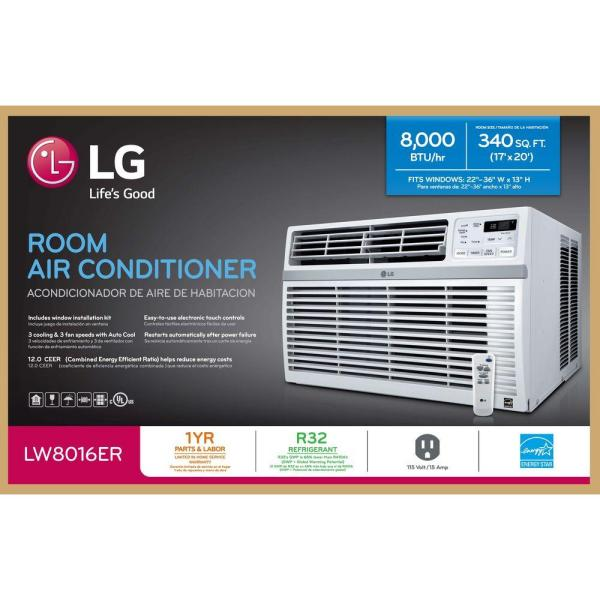 Lg Electronics 8 000 Btu 115 Volt Window Air Conditioner With Remote And Energy Star In White Lw8016er The Home Depot