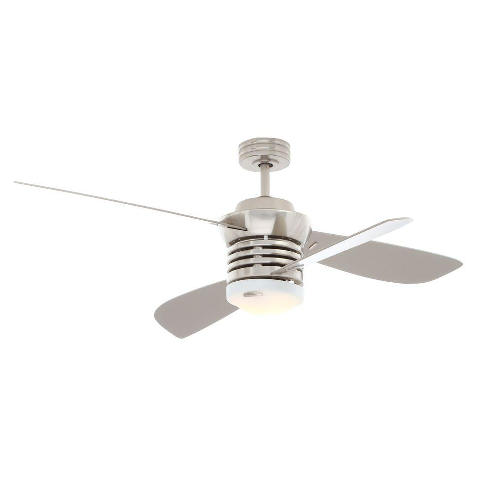 Hampton Bay Pilot 60 in. and 52 in. Indoor Brushed Nickel Ceiling Fan with Light Kit and Remote Control