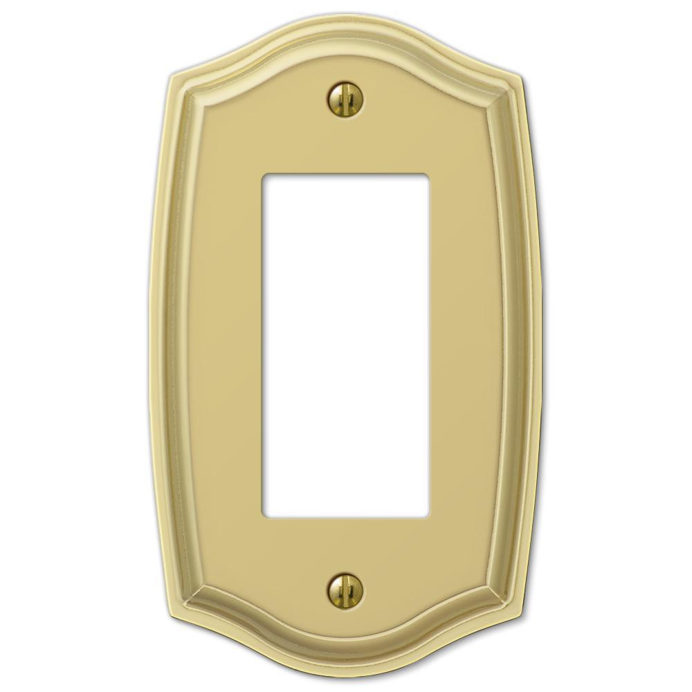 Vineyard 1 Gang Rocker Steel Wall Plate - Polished Brass