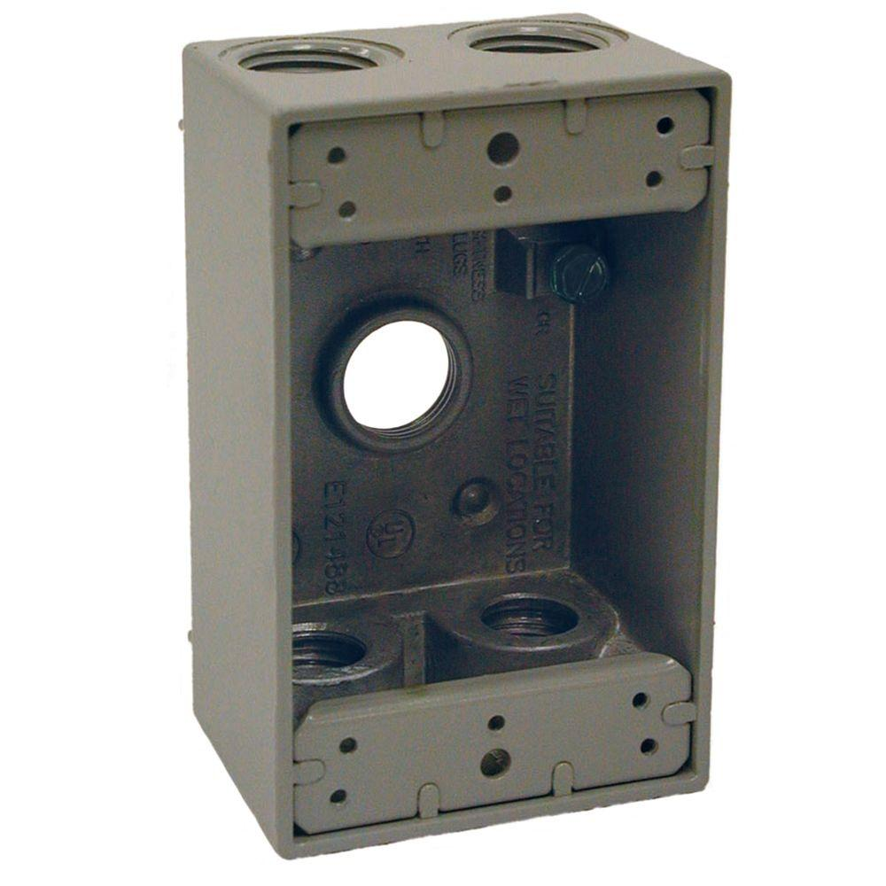 BELL 1-Gang Weatherproof Gray Box with Five 1/2 in. Threaded Outlets
