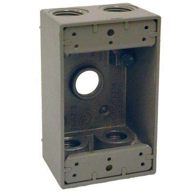 1-Gang Gray Weatherproof Box with Five 1/2 in. Threaded Outlets
