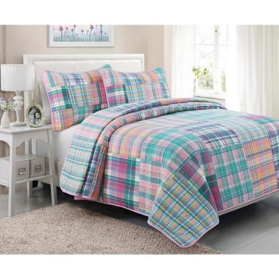 Spring Fling Tartan Plaid Square Patchwork 3-Piece Pink Blue Green Cotton Queen Quilt Bedding Set