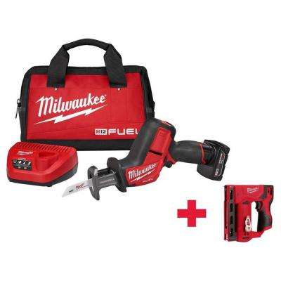 M12 FUEL 12-Volt Lithium-Ion Cordless HACKZALL Reciprocating Saw Kit with Free M12 Stapler