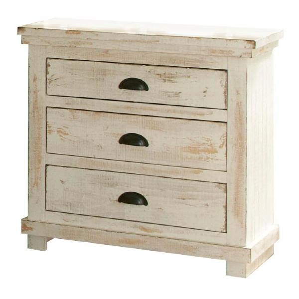Progressive Furniture Willow 3 Drawer Distressed White Nightstand