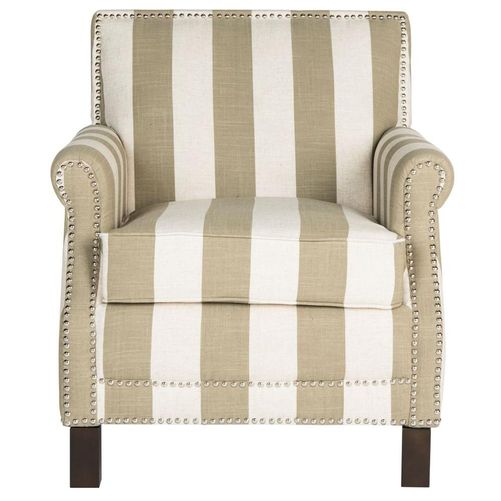 Easton Olive And White Linen Club Arm Chair