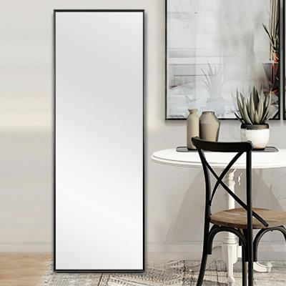 Large Black Metal Modern Mirror (59 in. H X 20 in. W)