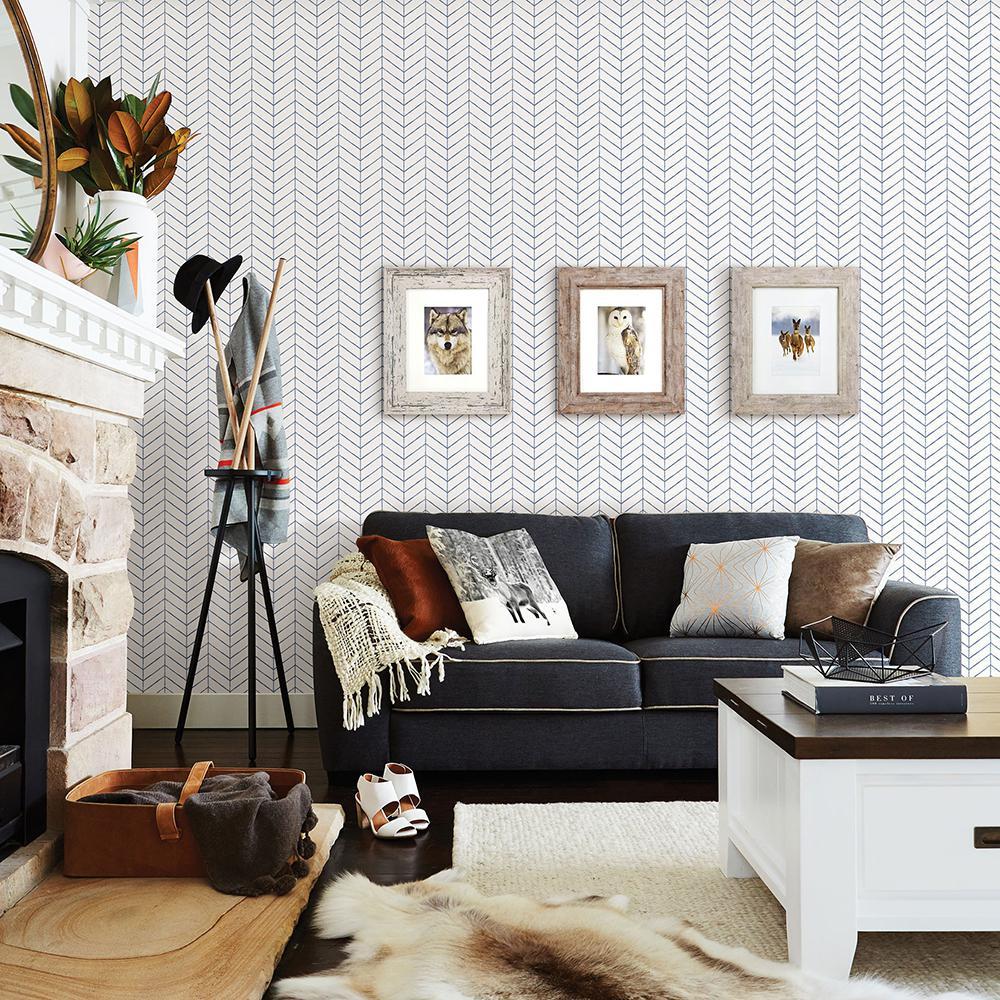 56.4 sq. ft. Bison Navy Herringbone Wallpaper