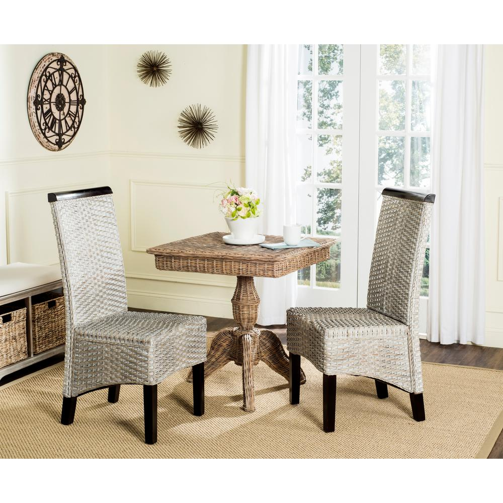 Woven Dining Chairs: Safavieh Ilya Wicker Chair In Antique Grey (2-Pack