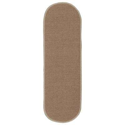 Ottohome Collection Beige 8 in. x 26 in. Oval Rubber Back Stair Tread (Set of 5)