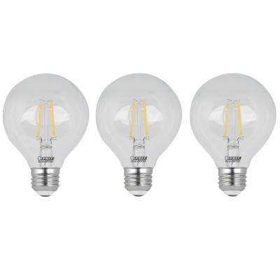 60-Watt Equivalent G25 Dimmable Filament LED ENERGY STAR 90+ CRI Clear Glass Light Bulb, Daylight (3-Pack)