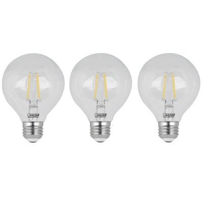 60-Watt Equivalent G25 Dimmable Filament ENERGY STAR Clear Glass LED Light Bulb, Daylight (3-Pack)
