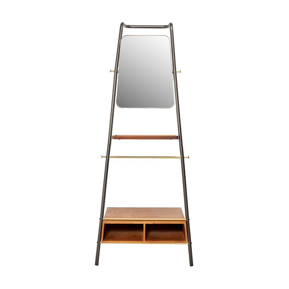 Silverwood Furniture Reimagined Brady Brown Metal and Wood Leaning Storage Coat