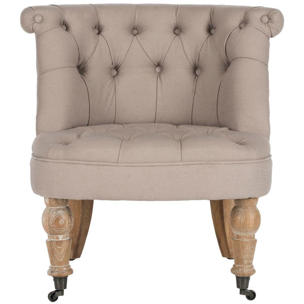 Superb Safavieh Carlin Taupe Linen Tufted Accent Chair Mcr4711B Theyellowbook Wood Chair Design Ideas Theyellowbookinfo