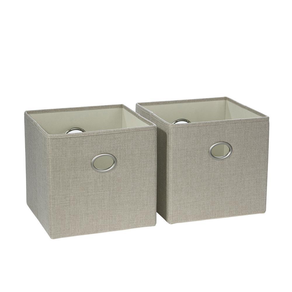 Riverridge home 10 5 in x 10 in beige folding storage for Beige bathroom bin