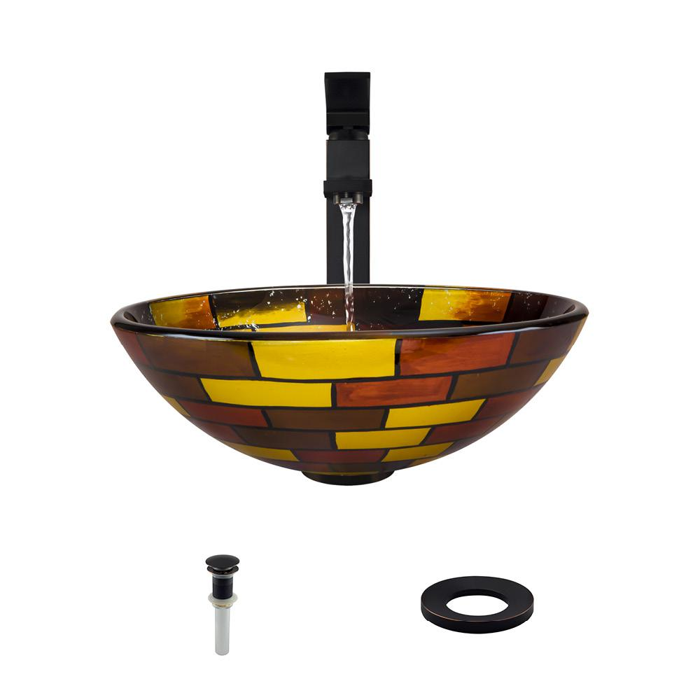 Glass Vessel Sink in Stained Glass with 721 Faucet and Pop-Up