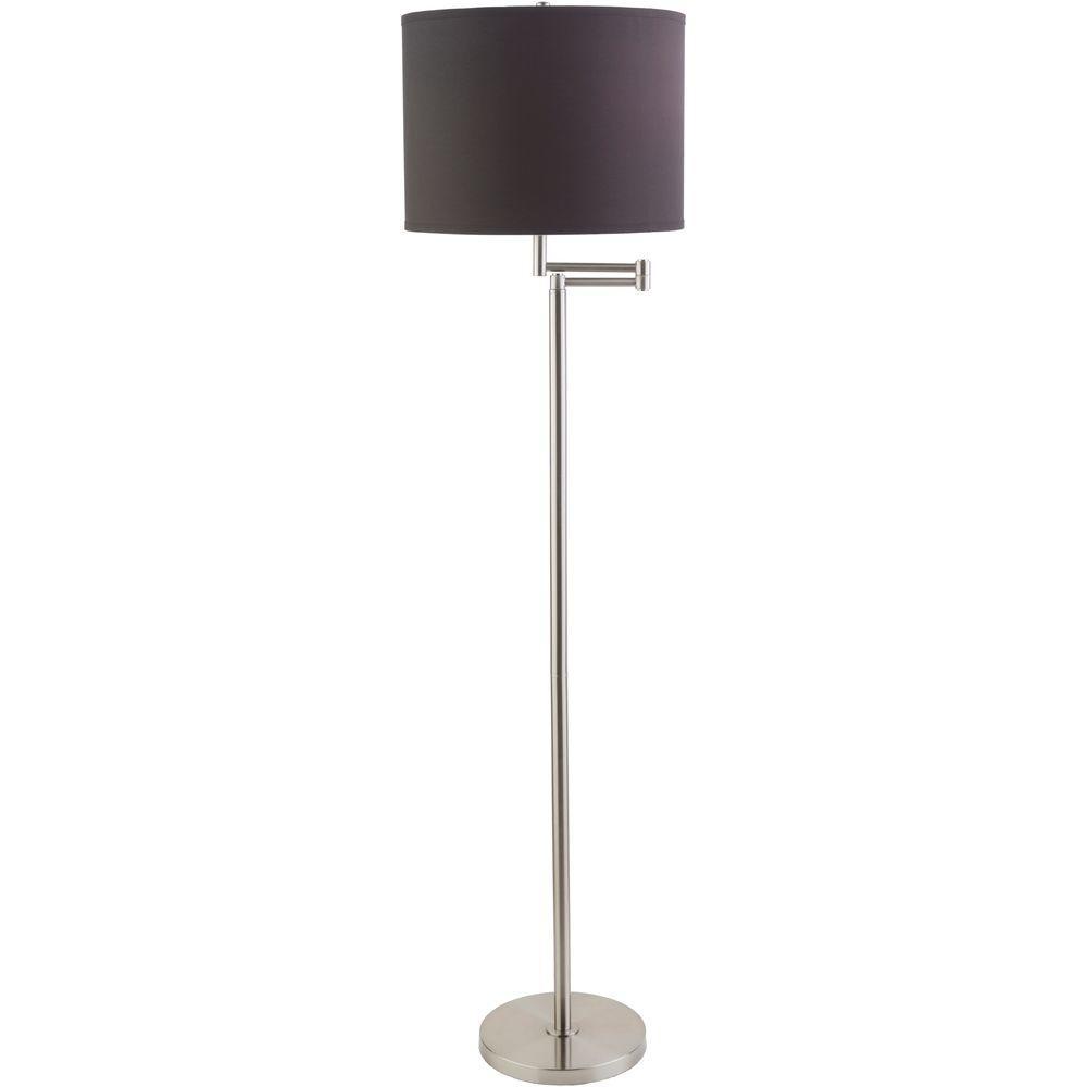 Biro 60 in. Brushed Nickel Indoor Floor Lamp With Black Shade