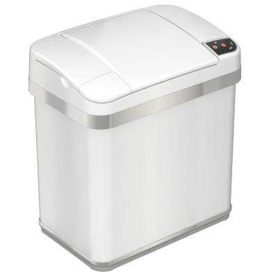 2.5 Gal. 8.25 in. Opening Multifunction Sensor Trash Can in Matte Pearl White