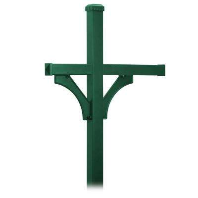 Deluxe 2-Sided In-Ground Mounted Post for 3 Mailboxes, Green