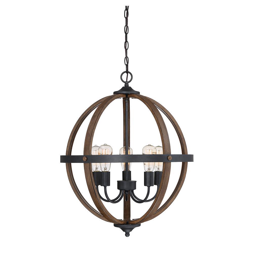 Filament Design 5-Light Wood Chandelier