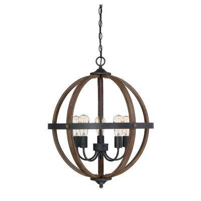 5 Light Wood Chandelier