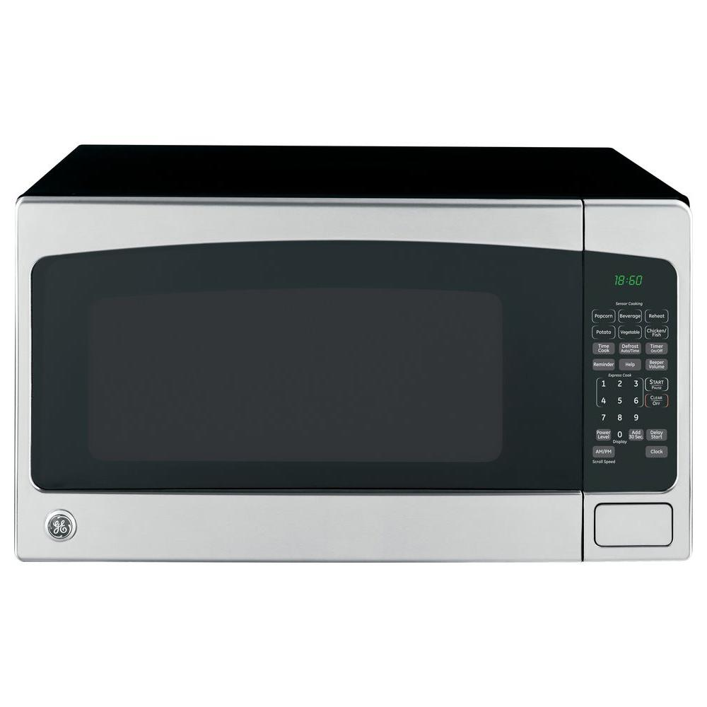 Ge 2 0 Cu Ft Countertop Microwave In Stainless Steel