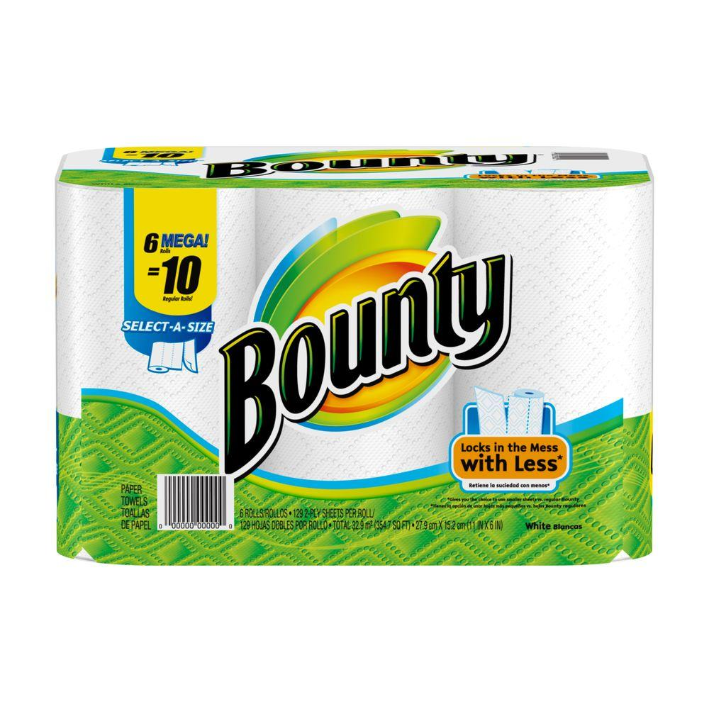 bounty select a size white paper towel 6 rolls 003700081466 the