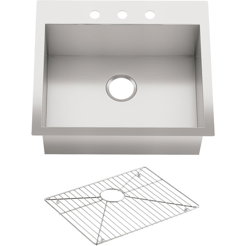 KOHLER Vault Undermount Stainless Steel 25 in. 3-Hole Single Basin Kitchen  Sink Kit