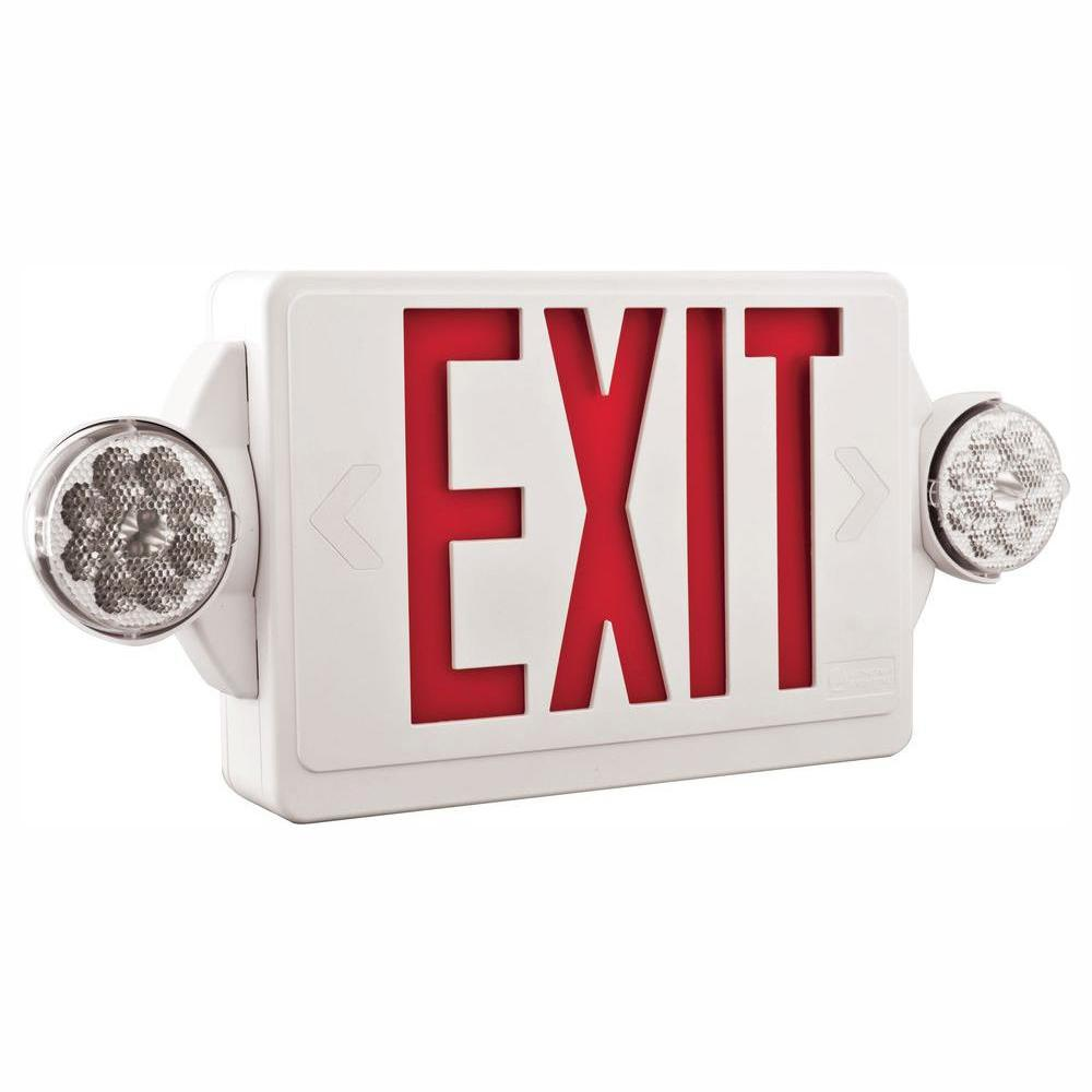 Lithonia Lighting 2-Light Plastic LED White Exit Sign/Emergency Combo on