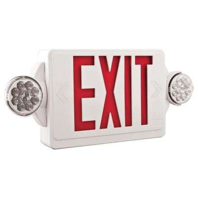 Contractor Select LHQM Series 120/277-Volt Integrated LED White and Red Exit Emergency Combo W/ 9.6V BTRY