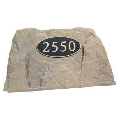 39 in. L x 21 in. W x 21 in. H Plastic Rock Cover with Oval Sign in Tan/Brown