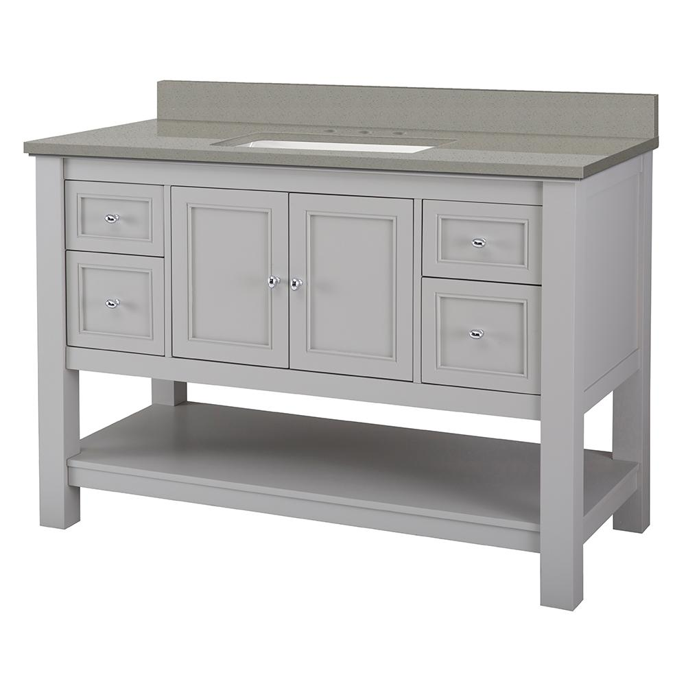 Foremost Gazette 49 in. W x 22 in. D Vanity Cabinet in Grey with Engineered Quartz Vanity Top in Sterling Grey with White Basin
