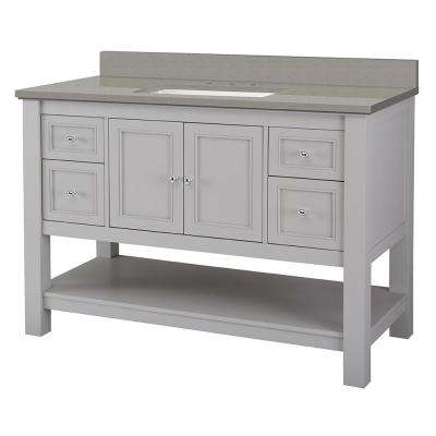 Gazette 49 in. W x 22 in. D Vanity Cabinet in Grey with Engineered Quartz Vanity Top in Sterling Grey with White Basin