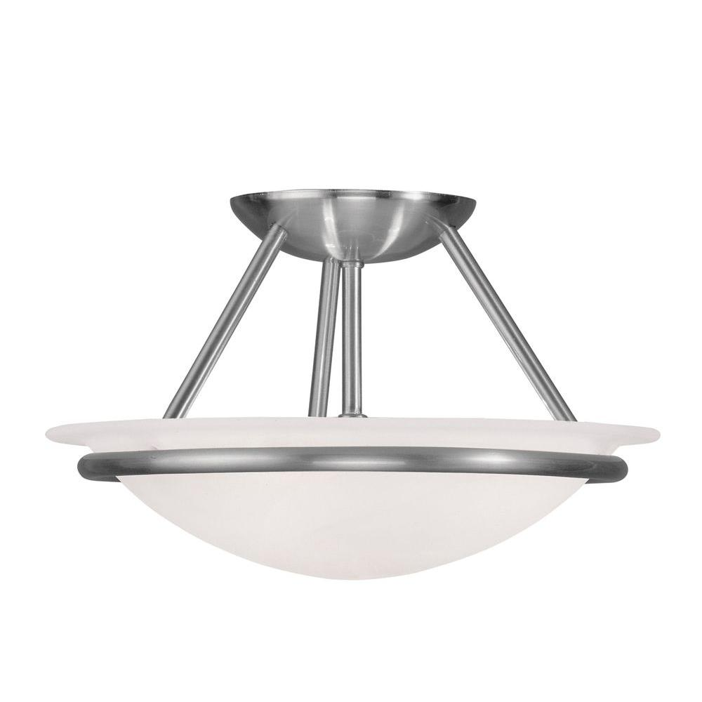 Livex Lighting Providence 2-Light Brushed Nickel Incandescent Ceiling Semi-Flush Mount