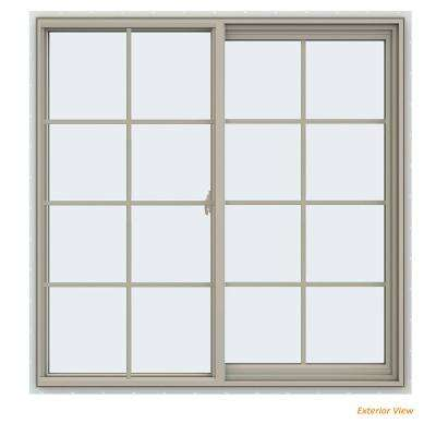 47.5 in. x 47.5 in. V-2500 Series Desert Sand Vinyl Right-Handed Sliding Window with Colonial Grids/Grilles